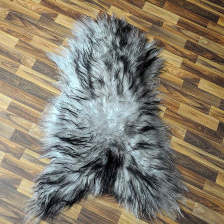 XXL Island Schaffell beige schwarzbraun 120x75 Kamin Vorleger #3445