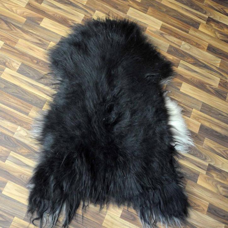 XL Island Schaffell grau schwarzbraun 115x75 Kamin Vorleger #3542