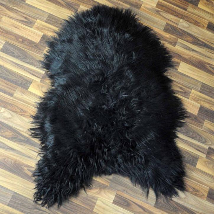 XL Island Schaffell grau schwarzbraun 110x70 Kamin Vorleger #3543