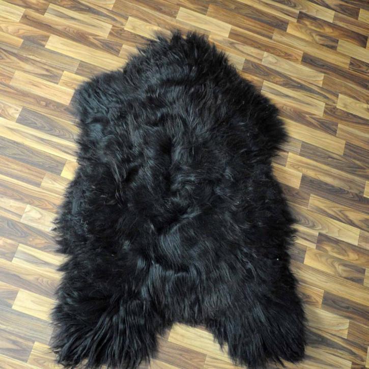 XXL Island Schaffell beige schwarzbraun 125x75 Kamin Vorleger #3567