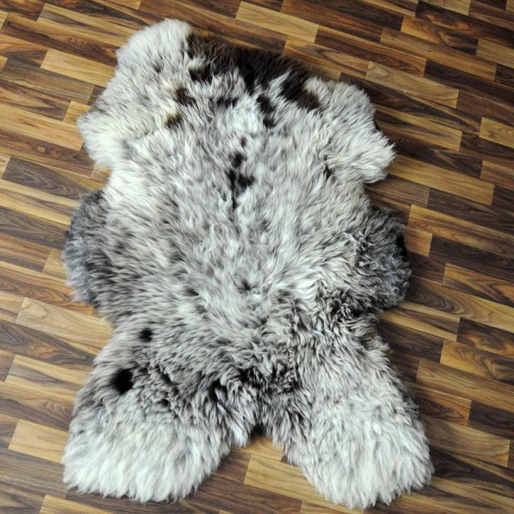 XXL Island Schaffell schwarzbraun weiß 120x70 Kamin Vorleger #3594
