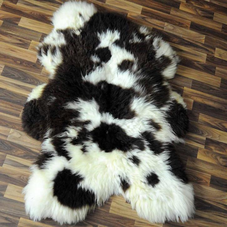 XXL Island Schaffell schwarzbraun weiß 120x75 Kamin Vorleger #3595