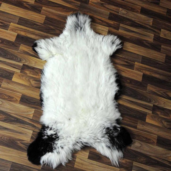 XL Island Schaffell schwarzbraun weiß 115x80 Kamin Vorleger #3599