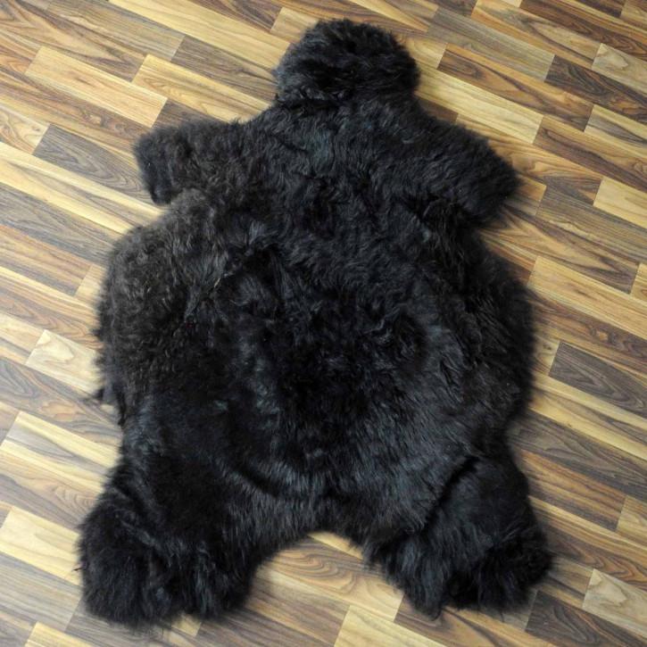 XL Island Schaffell schwarzbraun weiß 110x65 Kamin Vorleger #3660