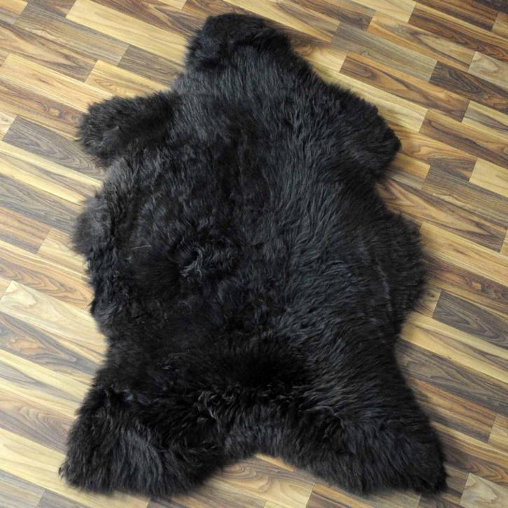 XXL Island Schaffell schwarzbraun weiß 120x75 Kamin Vorleger #3665