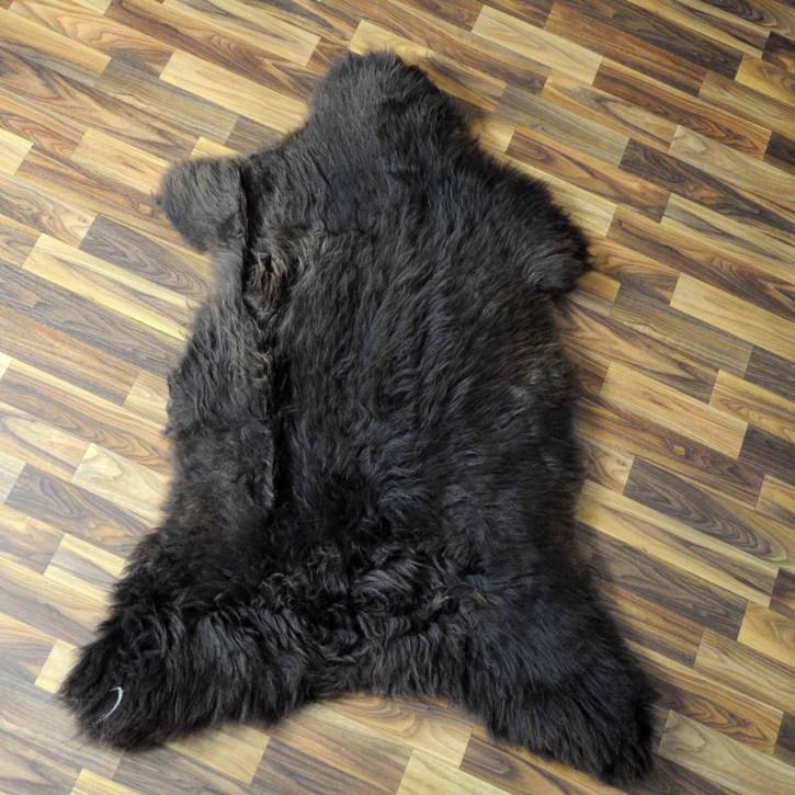 Island Schaffell schwarzbraun weiß 100x65 Kamin Vorleger #3666