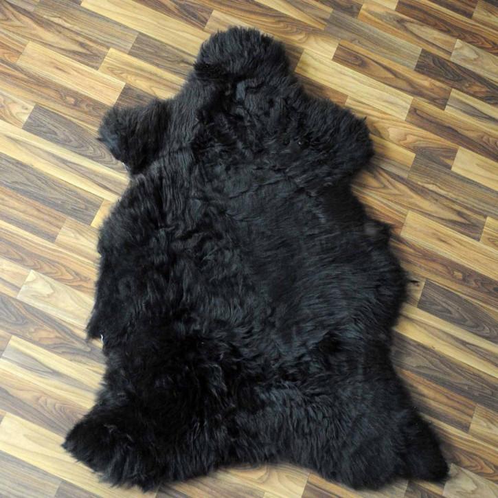 XXL Island Schaffell schwarzbraun weiß 120x80 Kamin Vorleger #3667
