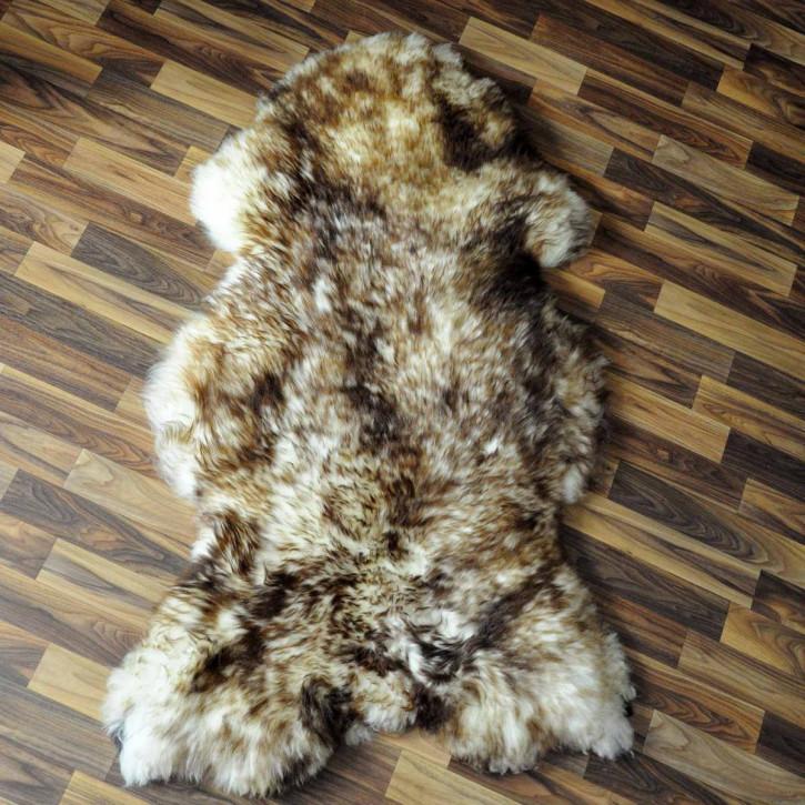 Schaffell Fell weiß braun geflammt 95x65 Hundebett #3693