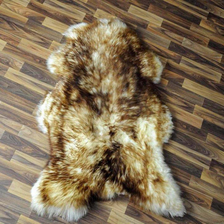 Schaffell Fell weiß braun geflammt 95x45 Hundebett #3694