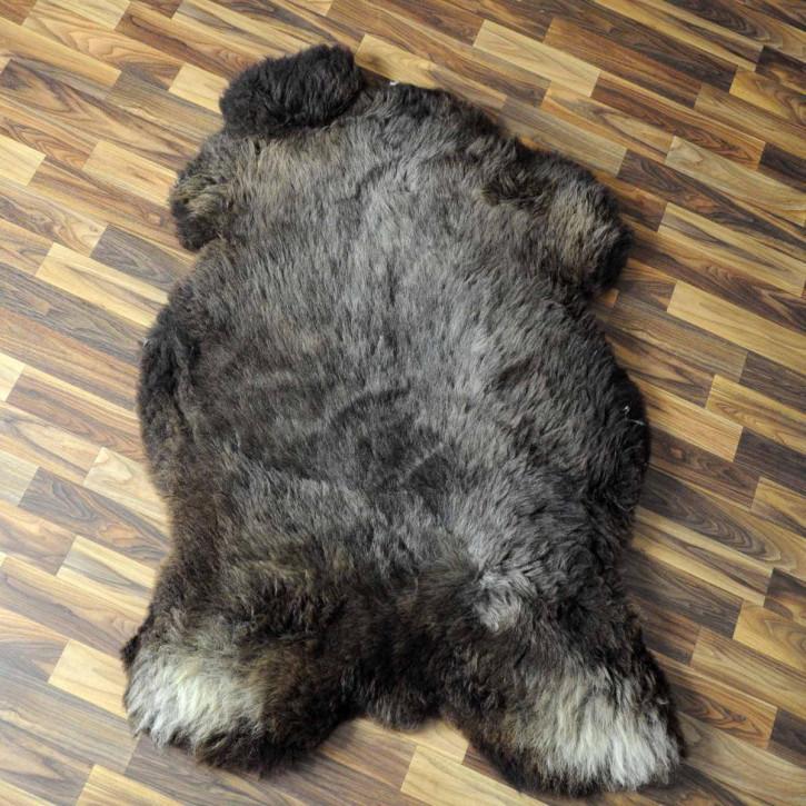 XXL Schaffell Fell weiß braun geflammt 125x75 Hundebett #3938