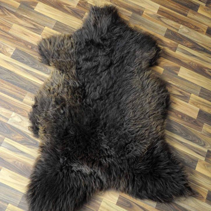 XXL Schaffell Fell weiß braun geflammt 125x80 Hundebett #3945