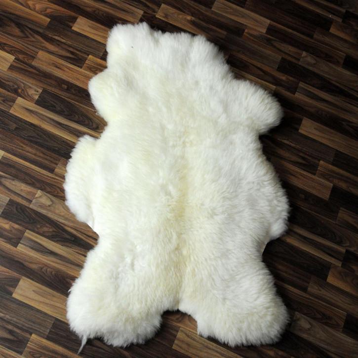 XXL Schaffell Fell weiß braun geflammt 125x70 Auflage Teppich #4012