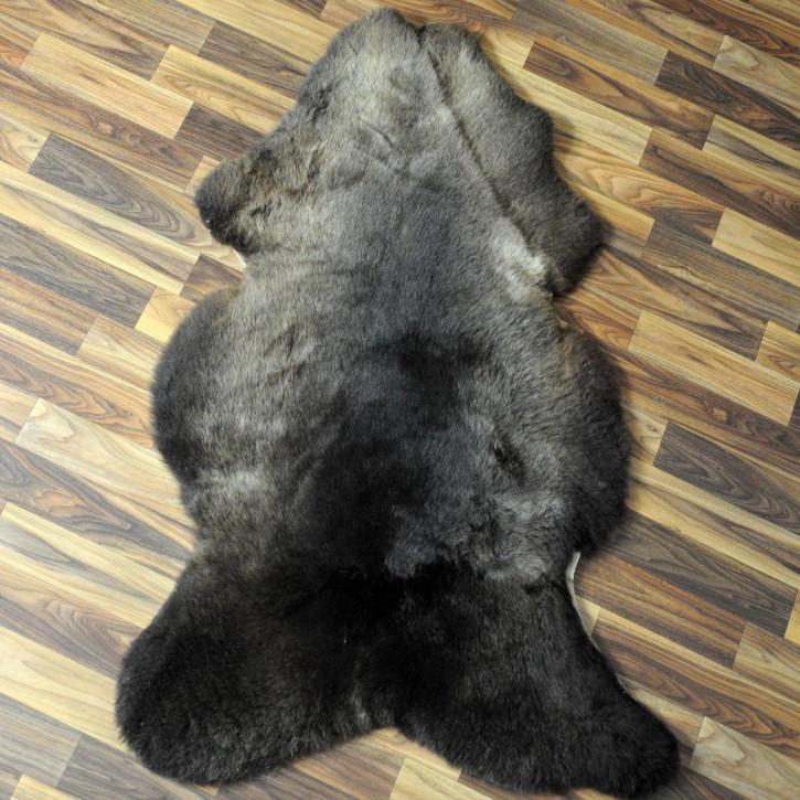 ÖKO Schaffell Fell braun grau 90x65 Auflage Teppich #4045