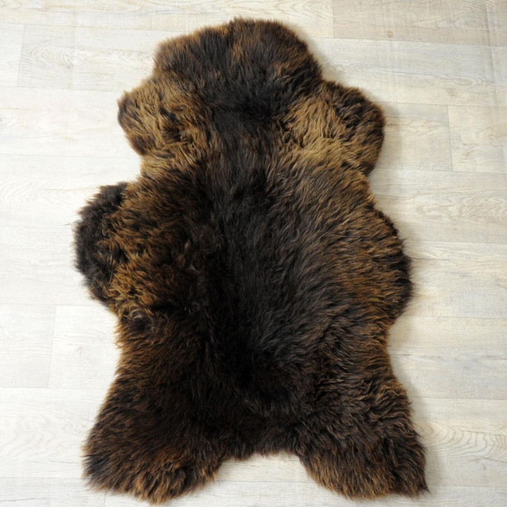 XL ÖKO Island Schaffell natur grau schwarz 115x70 #4051