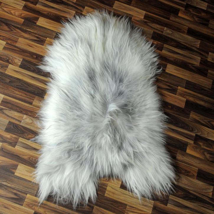 Schaffell Fell weiß braun geflammt 105x70 Auflage Teppich #4291