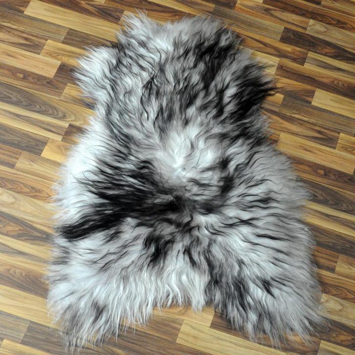 XXL Schaffell Fell weiß braun geflammt 120x70 Auflage Teppich #4293