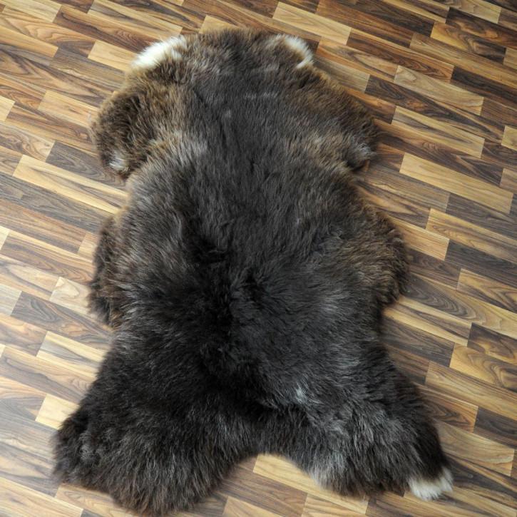 XXL Schaffell Fell weiß braun geflammt 120x75 Auflage Teppich #4300