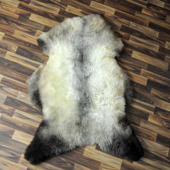 XXL Schaffell Fell weiß braun geflammt 125x70 Auflage Teppich #4301