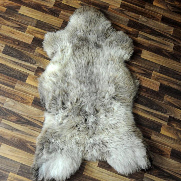 XXL Schaffell Fell weiß braun geflammt 120x75 Auflage Teppich #4302