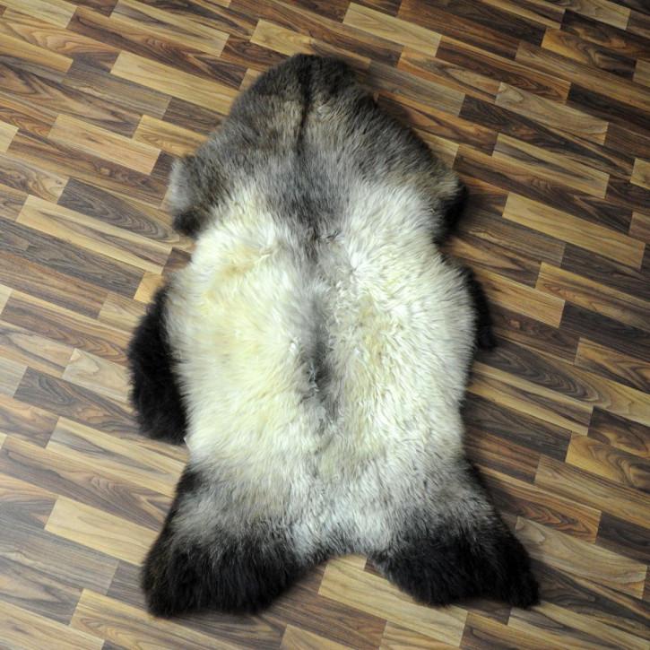 XL Schaffell Fell weiß braun geflammt 115x70 Auflage Teppich #4308
