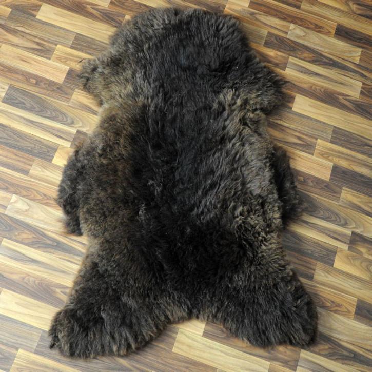XL ÖKO Island Schaffell grau schwarzbraun 110x75 gelockt #4405