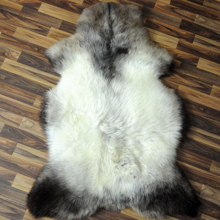 ÖKO Island Schaffell grau beige braun 100x65 gelockt #4455