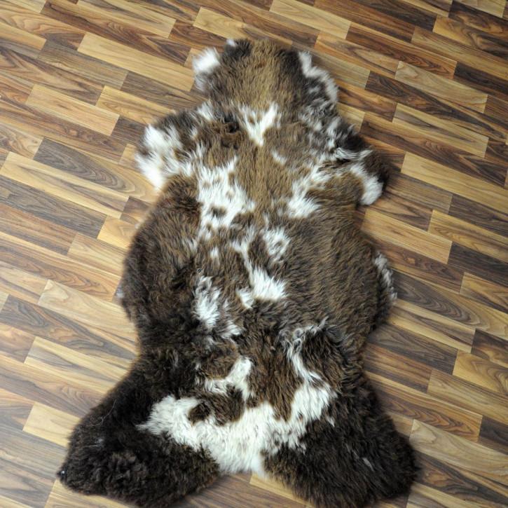 XL ÖKO Island Schaffell weiß schwarz geflammt 110x70 #4760