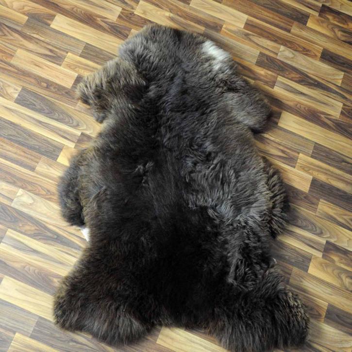 XL ÖKO Island Schaffell weiß schwarz geflammt 110x75 #5161