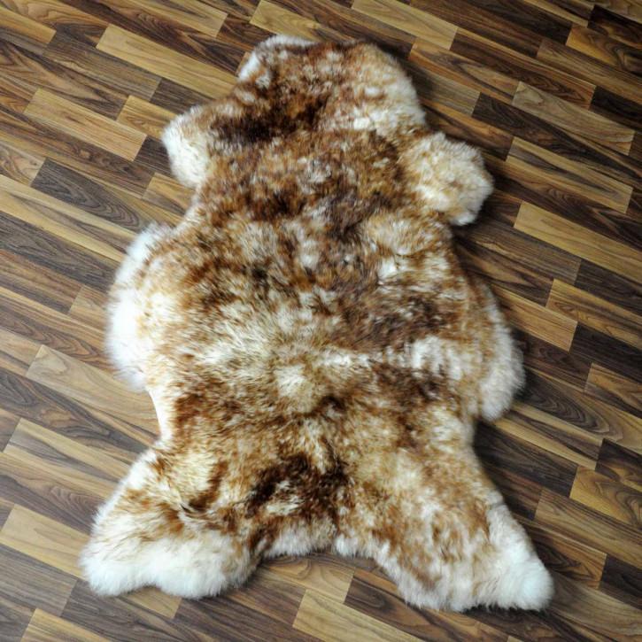 XL ÖKO Island Schaffell weiß schwarz geflammt 110x80 #5177