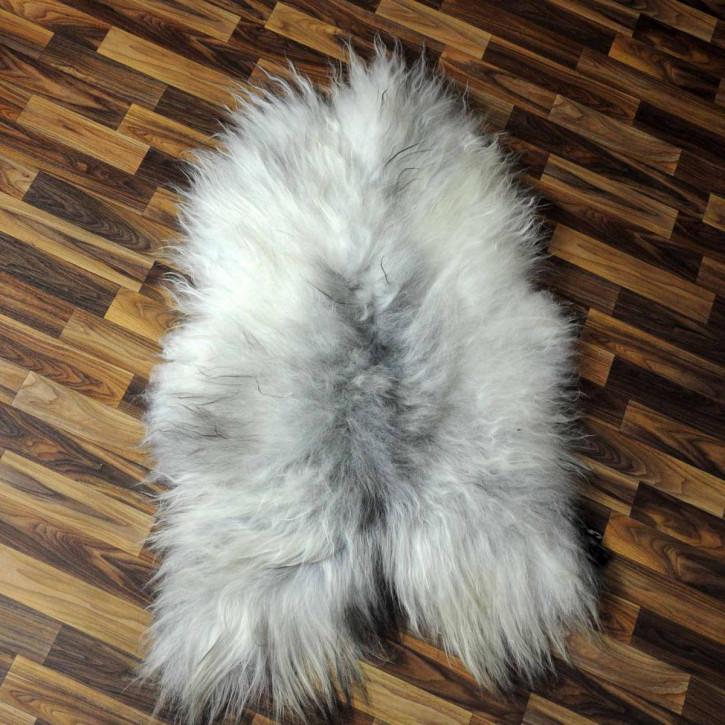 Island Schaffell grau schwarz geflammt 105x70 Deko #5254