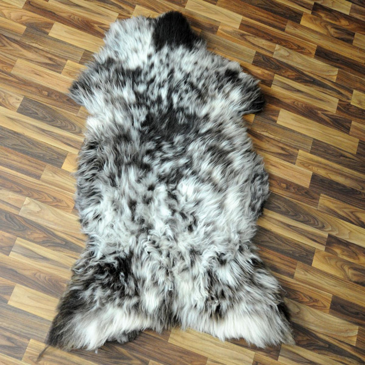 XL Island Schaffell grau schwarz geflammt 110x70 Deko #5257