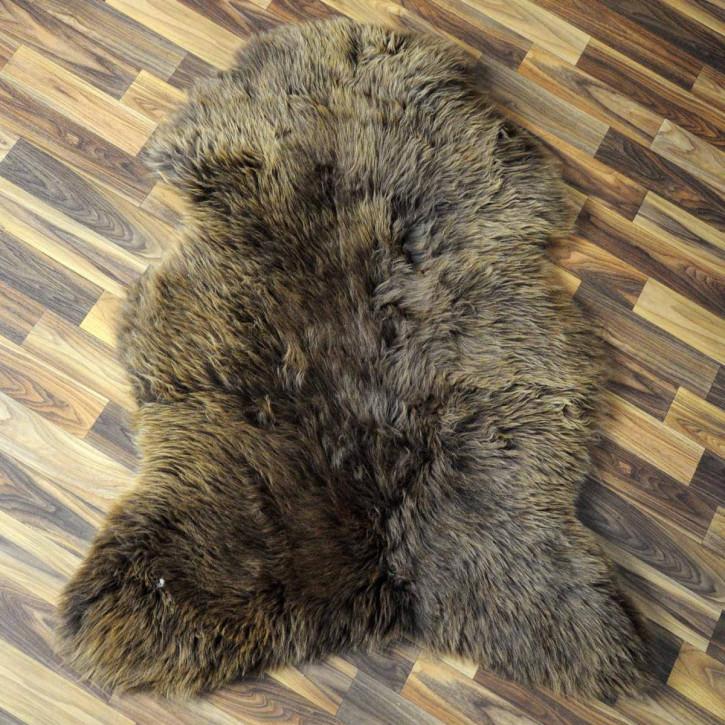 ÖKO Schaffell Fell Lammfell braun grau 100x65 Teppich #5909