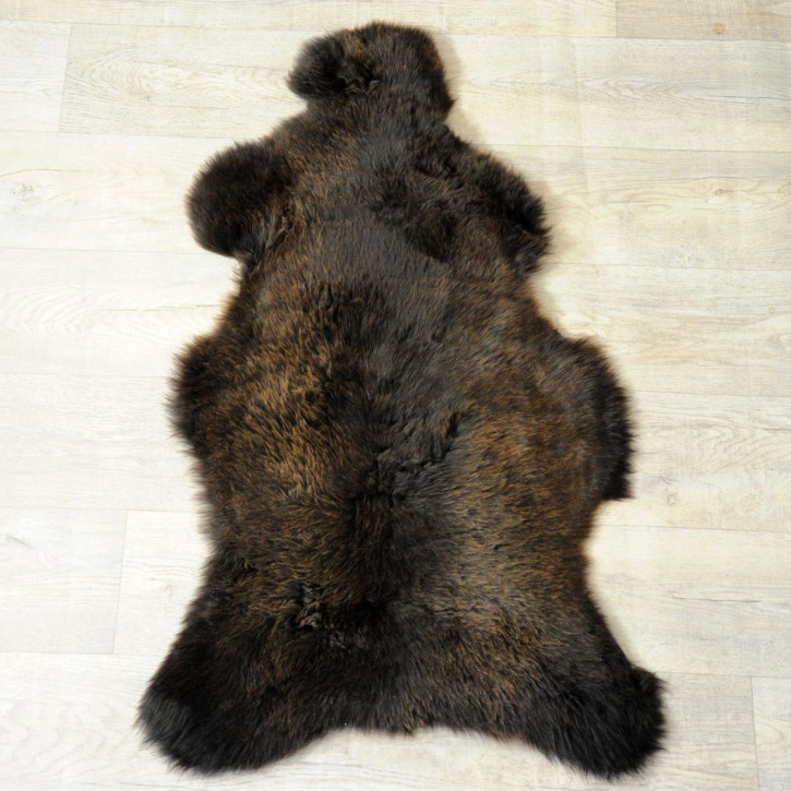 ÖKO Island Schaffell schwarzbraun grau 105x70 gelockt #6193