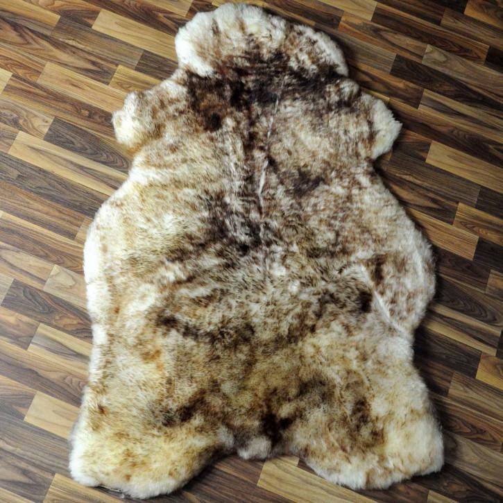 XL ÖKO Schaffell weiß braun geflammt 110x80 Teppich #6819
