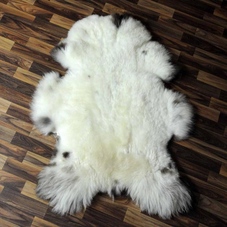 XL ÖKO Island Schaffell weiß schwarzbraun geflammt 115x75 #6919