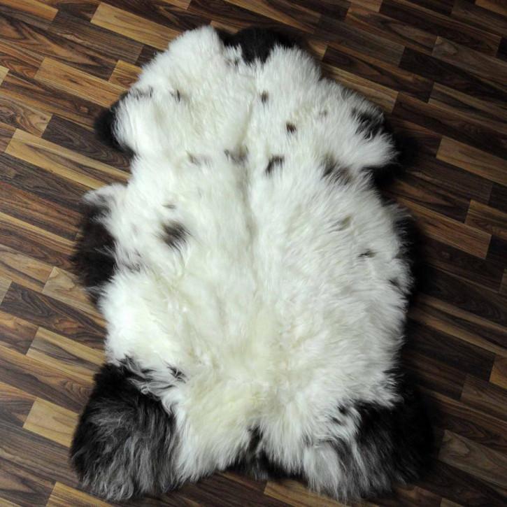 XL ÖKO Island Schaffell weiß schwarzbraun geflammt 115x75 #6921