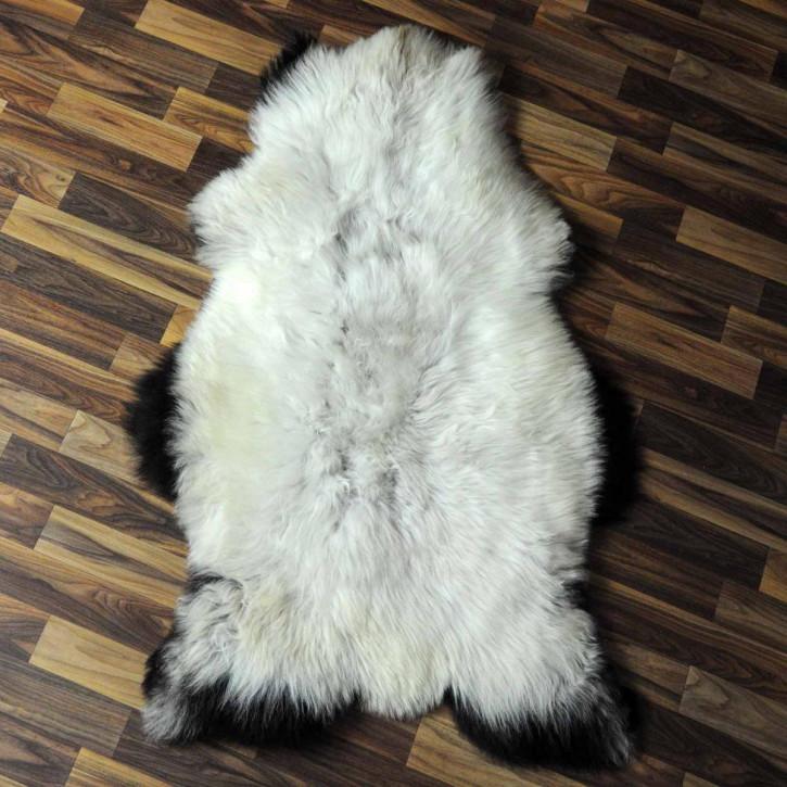 XL ÖKO Island Schaffell weiß schwarzbraun geflammt 115x70 #6922