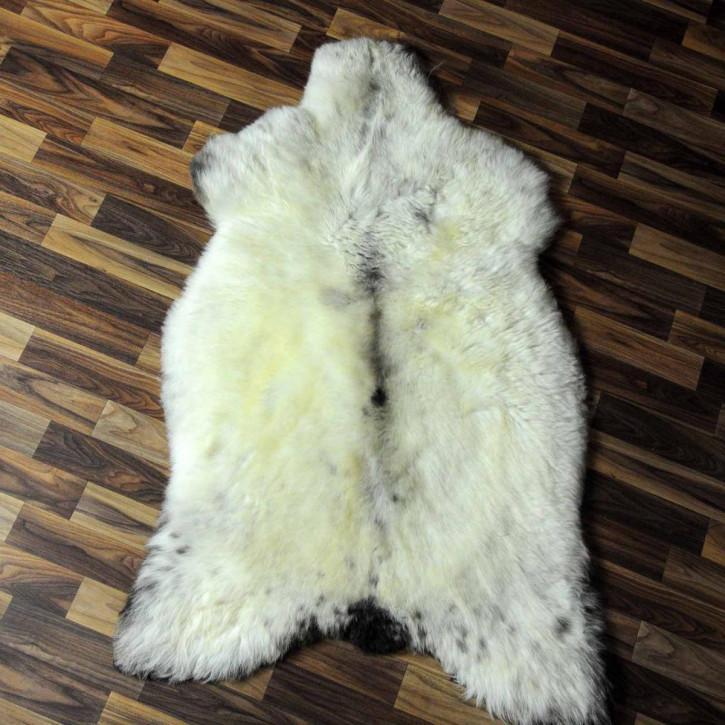 XL ÖKO Island Schaffell weiß schwarzbraun geflammt 115x70 #6925