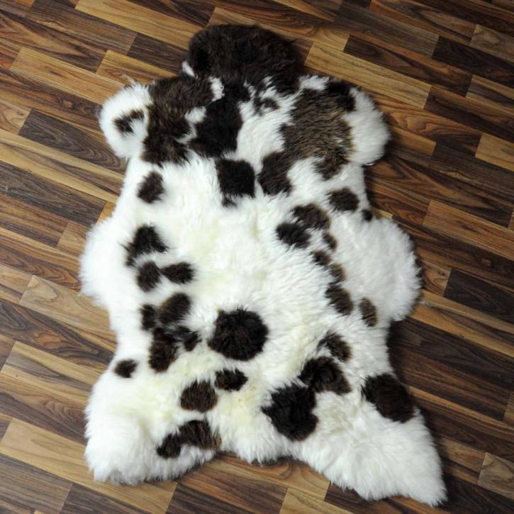 XL ÖKO Island Schaffell weiß schwarzbraun geflammt 115x70 #6937