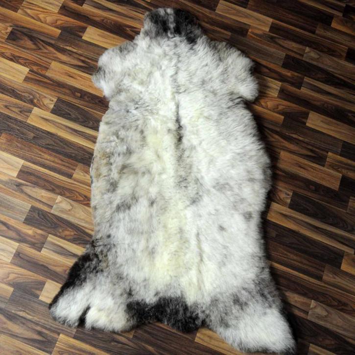XL ÖKO Island Schaffell weiß schwarzbraun geflammt 110x75 #6944