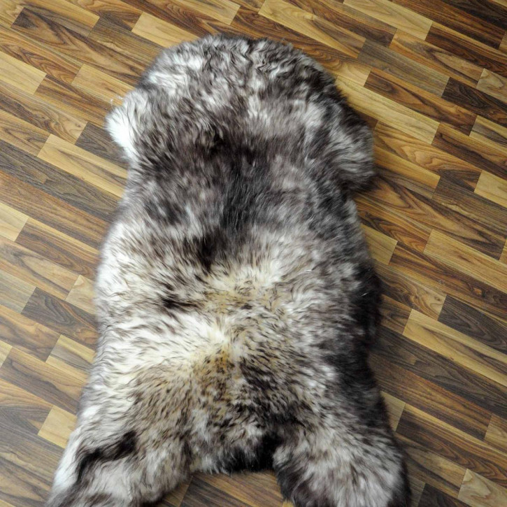 XL ÖKO Island Schaffell grau schwarzbraun 110x75 #7438