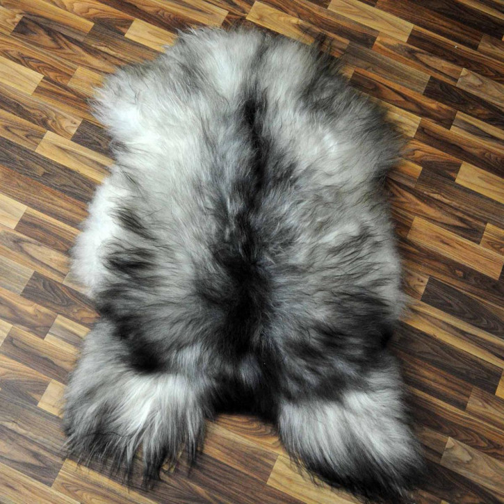 ÖKO Schaffell Fell Lammfell braun grau 105x70 geschoren #7990