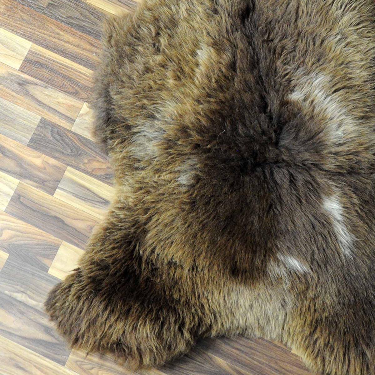 ko schaffell fell lammfell braun grau 105x75 teppich. Black Bedroom Furniture Sets. Home Design Ideas