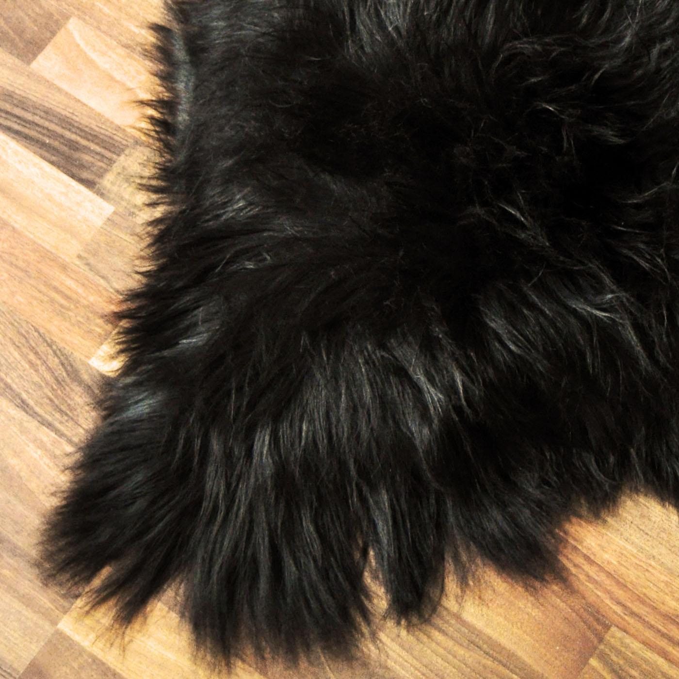 XXL ÖKO Island Schaffell Lammfell 120 x 60-70 cm Fellteppich langhaarig schwarz