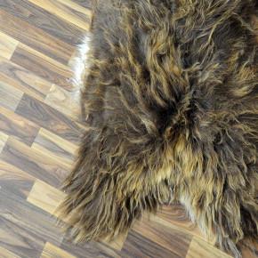 XL Island Schaffell grau schwarzbraun 110x75 Kamin Vorleger #3431