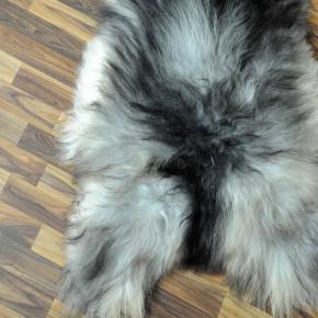 XL Island Schaffell grau schwarzbraun 115x75 Kamin Vorleger #3448