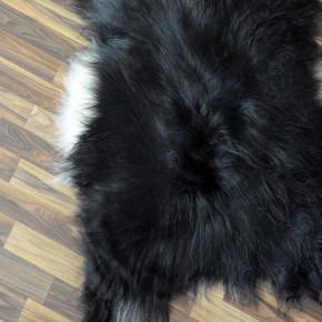 XL Island Schaffell grau schwarzbraun 115x75 Kamin Vorleger #3549