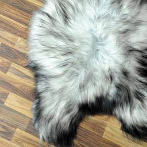XL Island Schaffell grau schwarzbraun 115x75 Kamin Vorleger #3550
